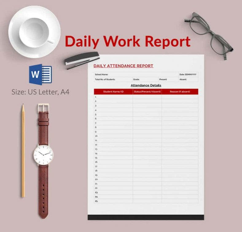 Daily Work Report Template Excel Printable Editable Blank – IT Report Template