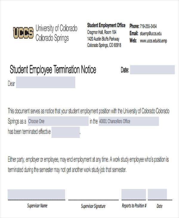 student employee termination notice