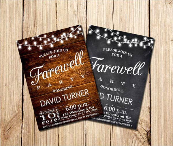 business farewell typography invitation