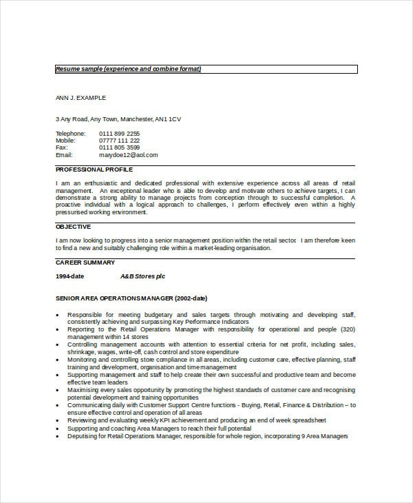 sle cv of customer service manager