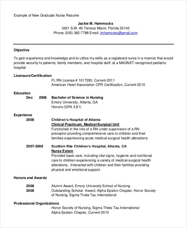 sample nursing resume objective