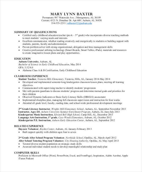 sample preschool teacher resume template