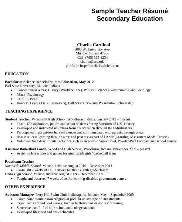 sample secondary teacher resume template