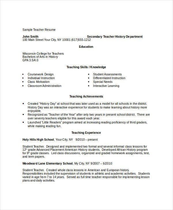 sample teacher resume template elementary cv download word free
