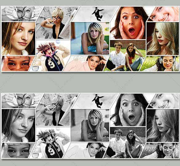 35 photo collage templates free psd vector eps ai indesign creative photo collage action photoshop for facebook timeline template provides the option to include 13 images on the cover page of facebook pronofoot35fo Images