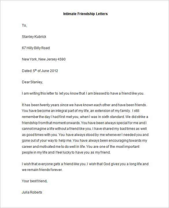 Friendly Letter Templates 44 Free Sample Example Format
