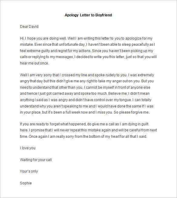 Friendly Letter Templates 49 Free Sample Example Format – Sample Apology Letter to Parents