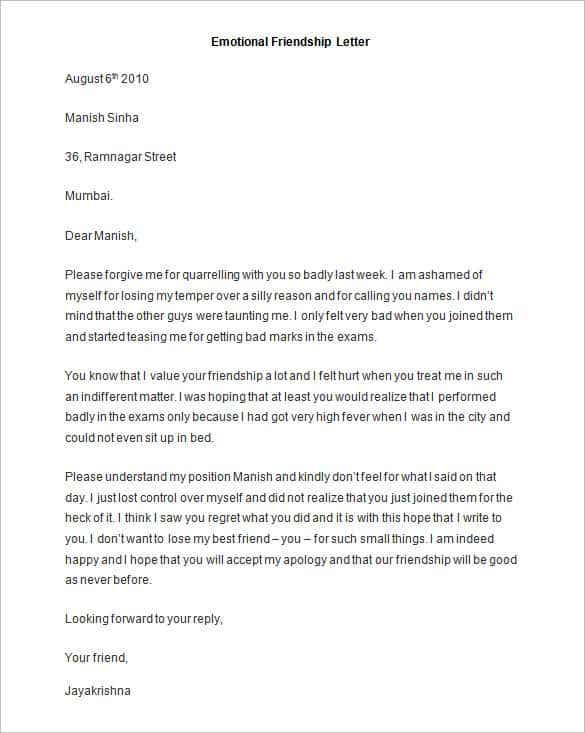sample emotional friendship letter