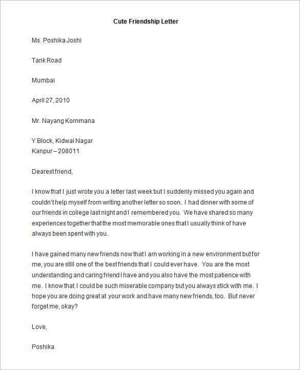 Friendly letter templates 44 free sample example format free the sample free friendship letter is the perfect letter for someone who wants to make friends with a pen pal or an acquaintance that they have met trough thecheapjerseys