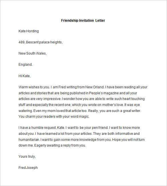 Friendly letter templates 44 free sample example format free sample friendship invitation letter stopboris Image collections