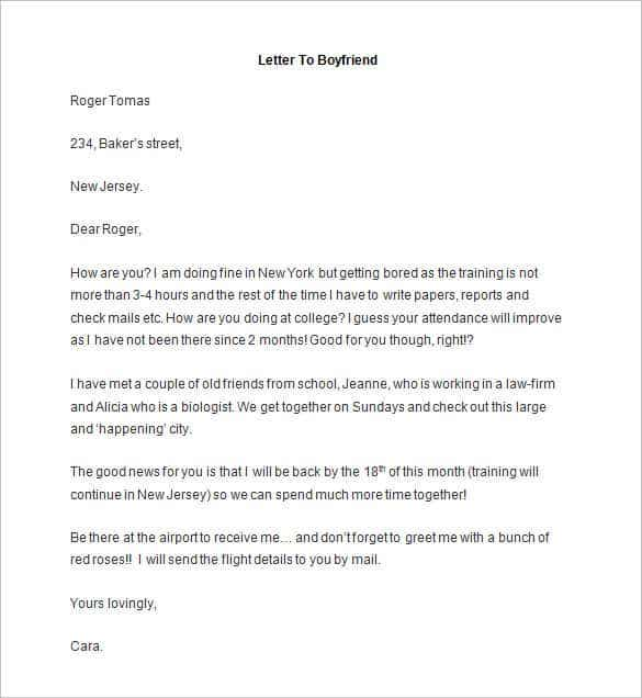 sample letter format to boyfriend