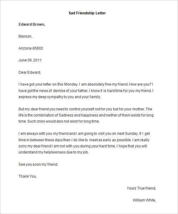 sample sad friendship letter word min details file format
