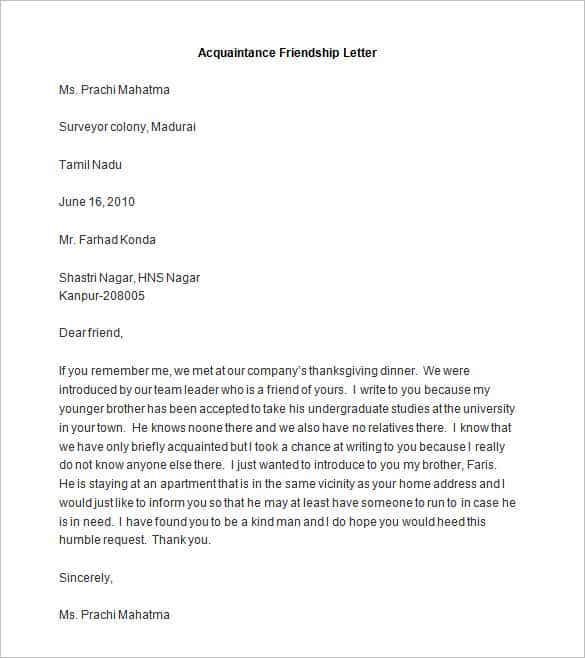 Friendly letter templates 44 free sample example format free sample acquaintance friendship letter is a template for a letter that you want to write to someone that you met through someone else a family member stopboris Images
