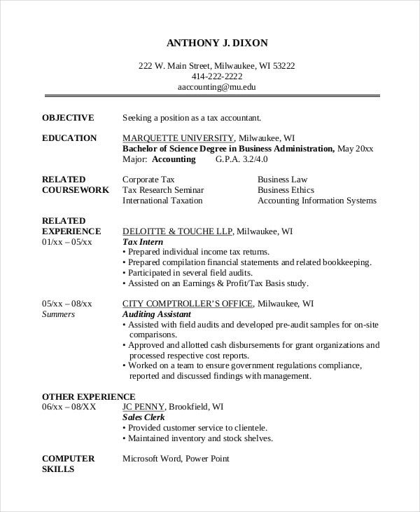 sample accounting graduate resume