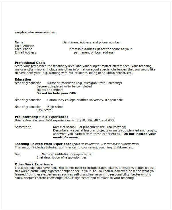 sample fresher resume format