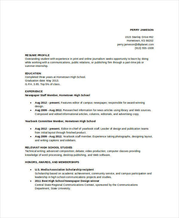 sample resume for high school graduate