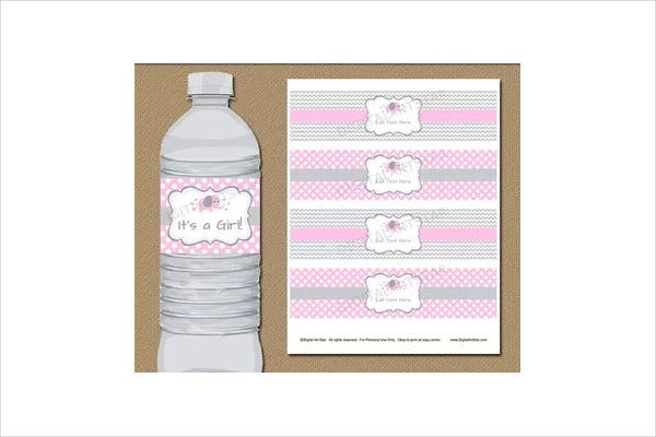 Chevron Style Water Bottle Label