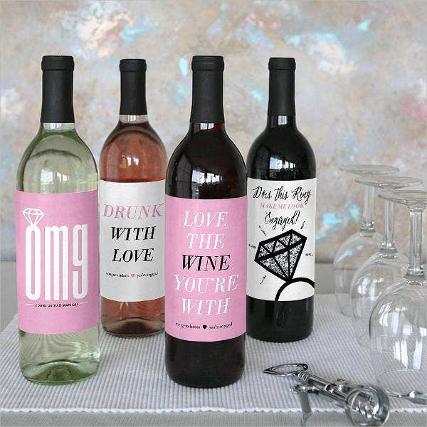 Engagement Wine Bottle Label
