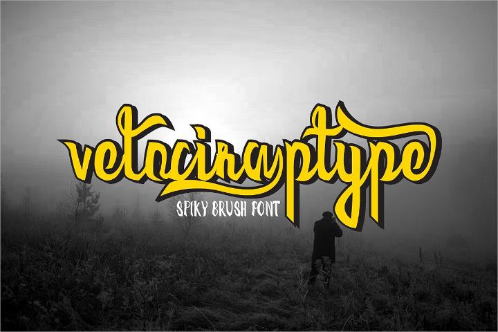 velociraptype-spiky-brush-font