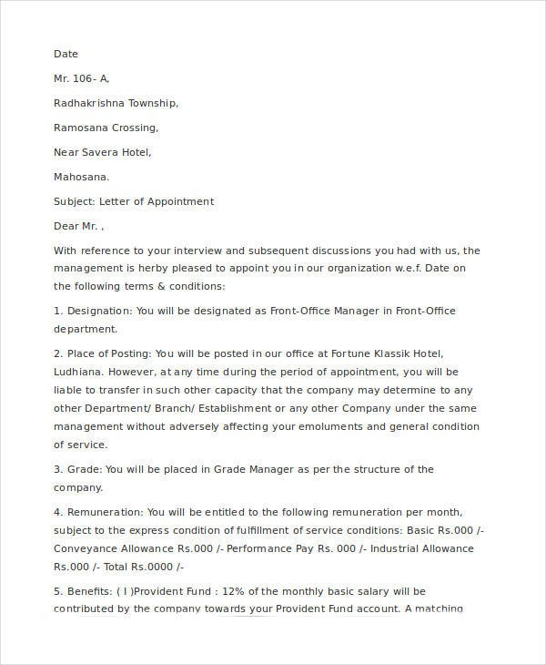 company manager appointment letter