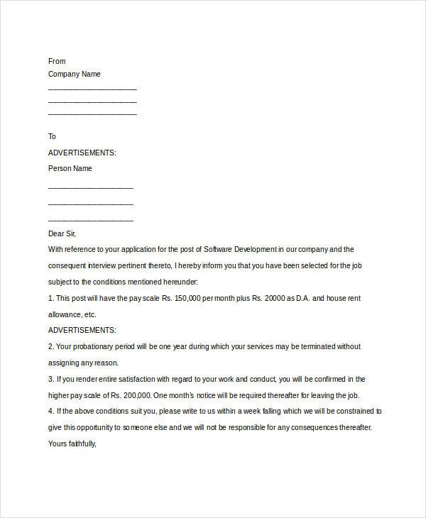 it company appointment letter