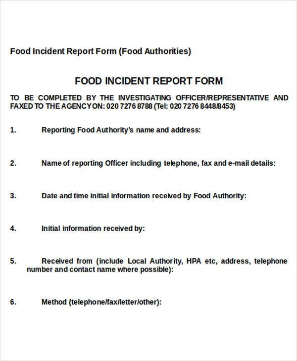 food safety incident report