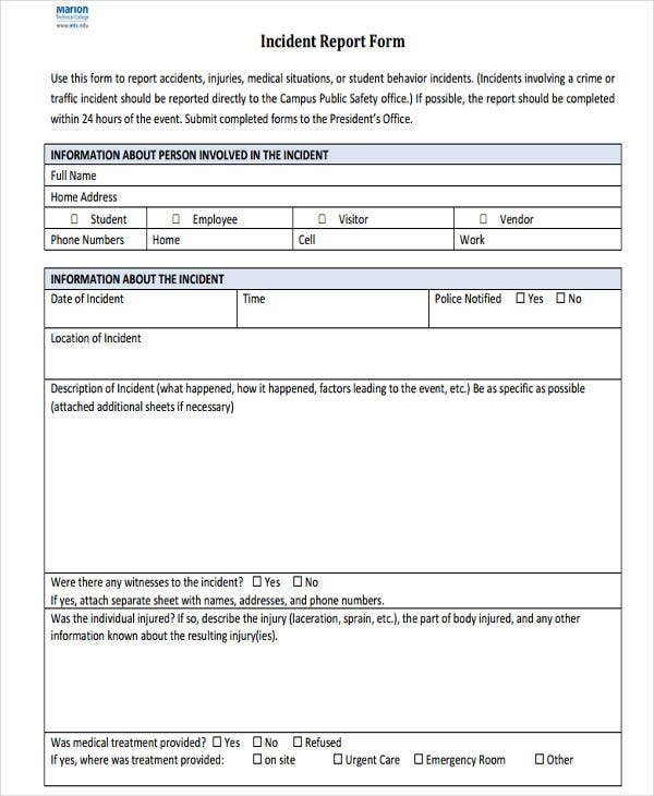 Free Incident Report Templates  Free  Premium Templates