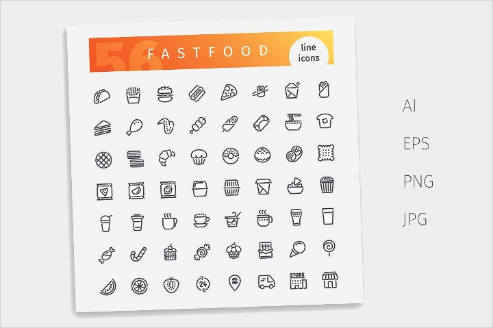 fast food line icons1