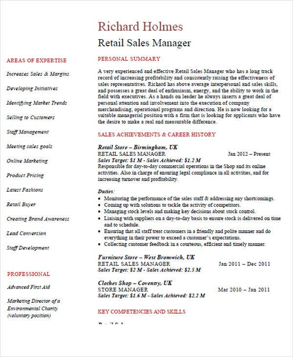 retail sales manager resume11