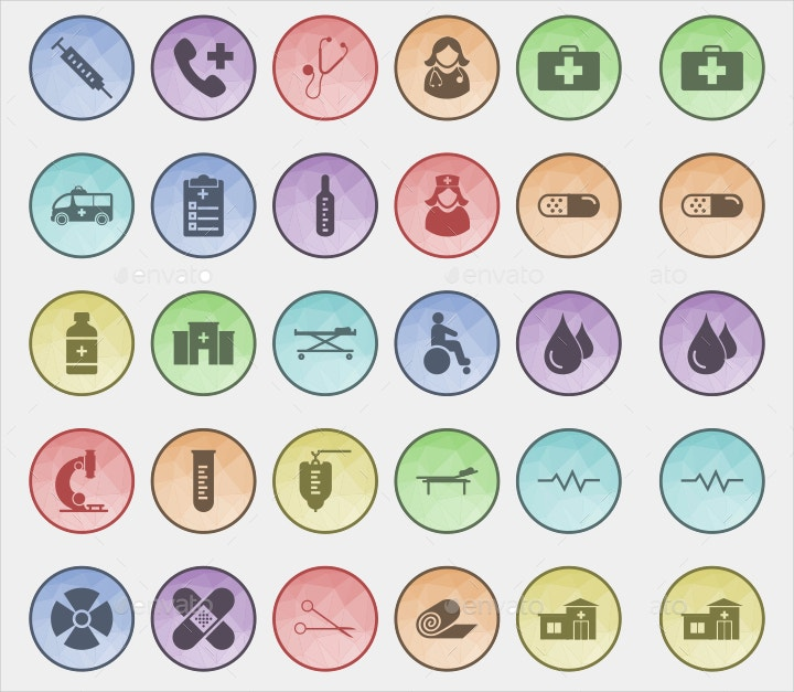 medical themed filled icons