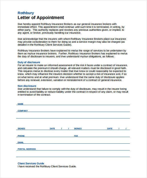 insurance company appointment letter2