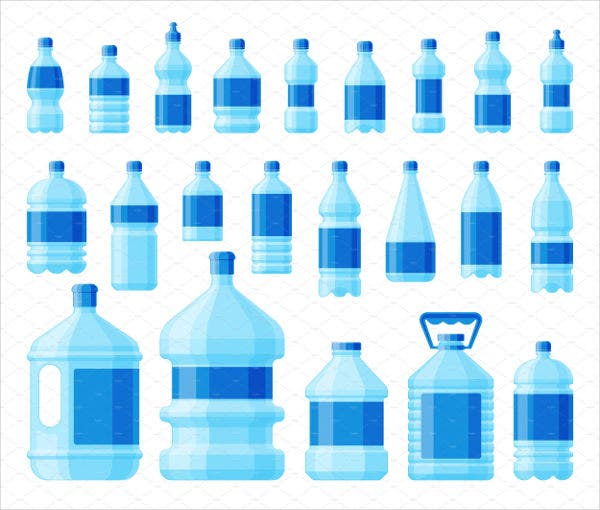 plastic bottle label vector set
