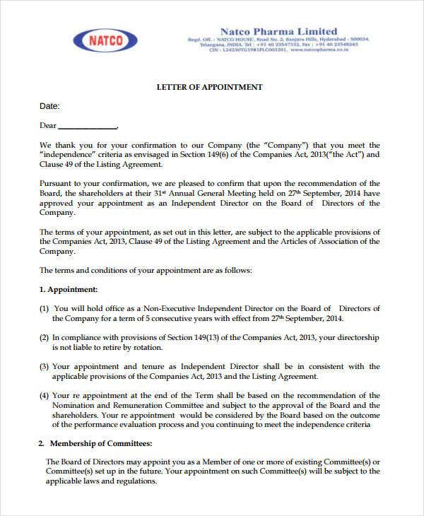 pharmaceutical company appointment letter