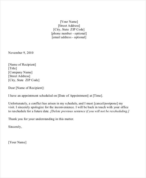 reschedule doctor appointment letter template