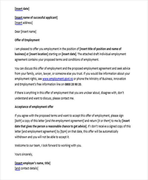 new job appointment letter
