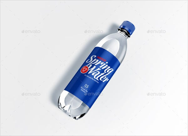 realistic plastic bottle label