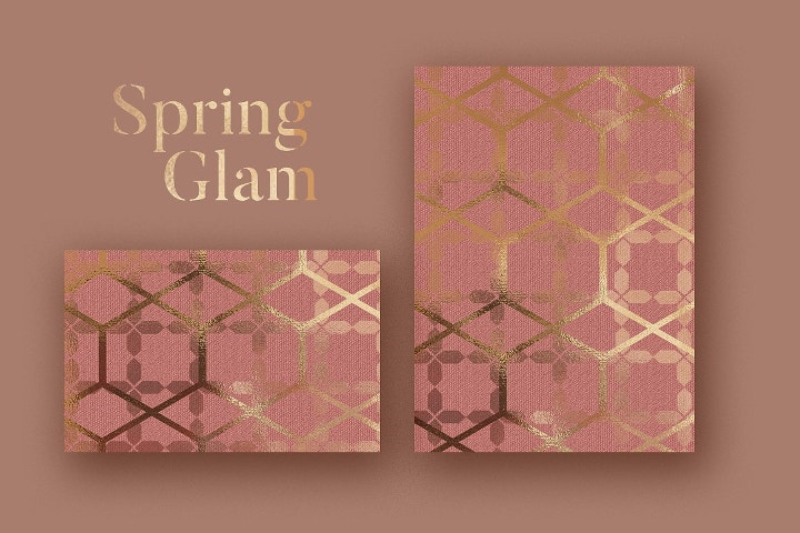 spring glam rose gold pattern