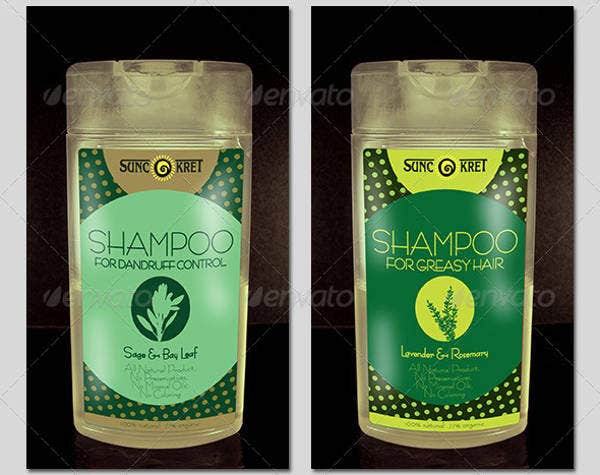 shampoo bottle sticker label