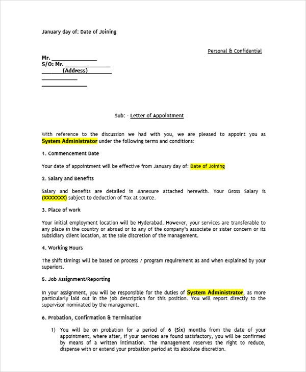 bank job appointment letter