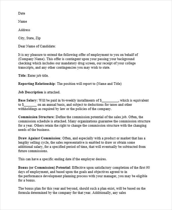 sales commission letter template - 8 job appointment letter templates free samples