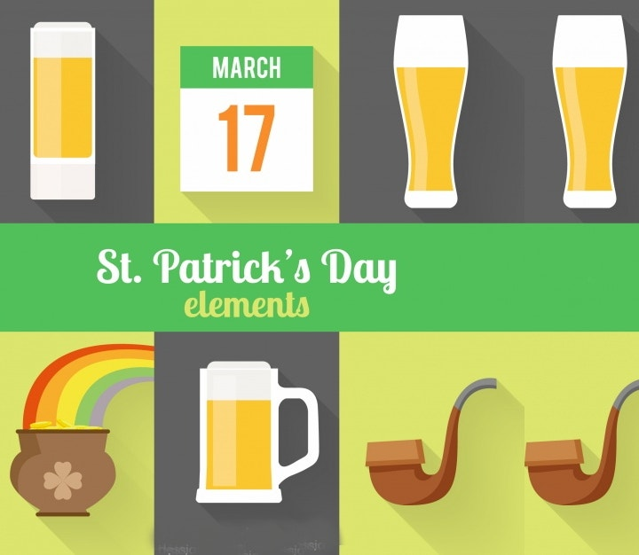 st patrick%e2%80%99s day flat elements vector