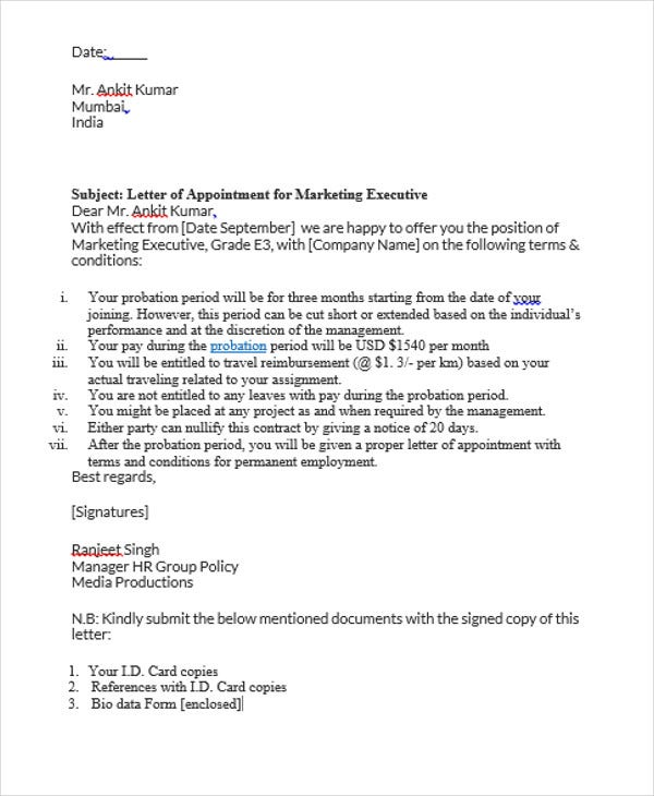 marketing job appointment letter