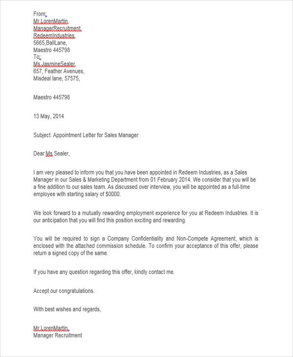 sales job appointment letter