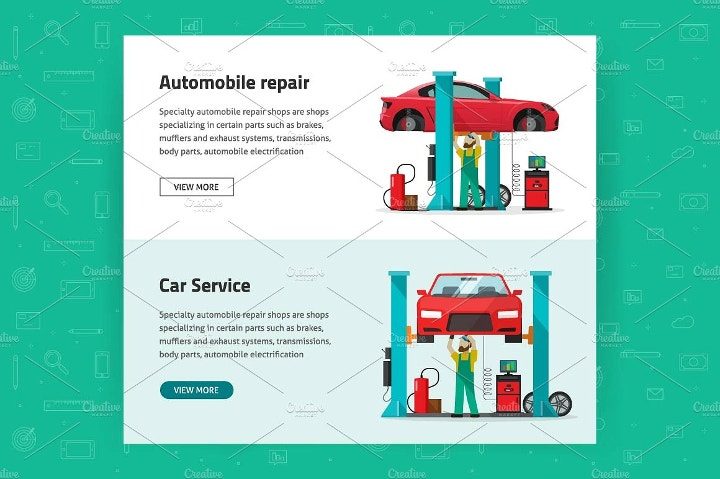 car-reapir-vector-banners