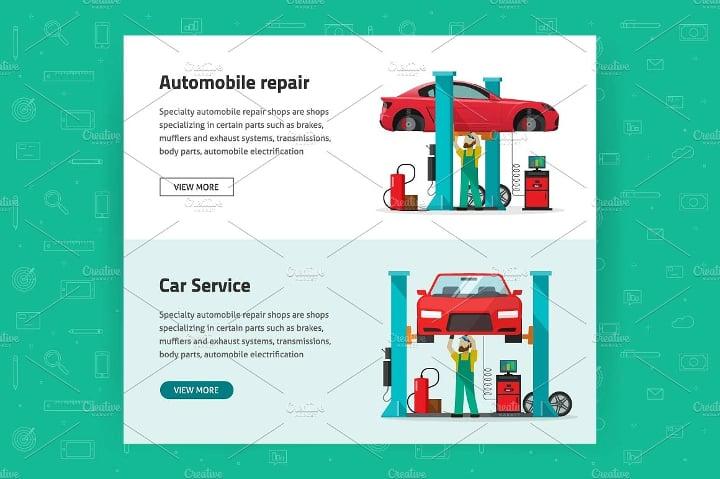 car reapir vector banners1