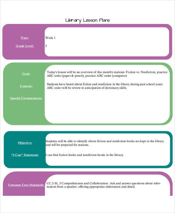library orientation lesson plan