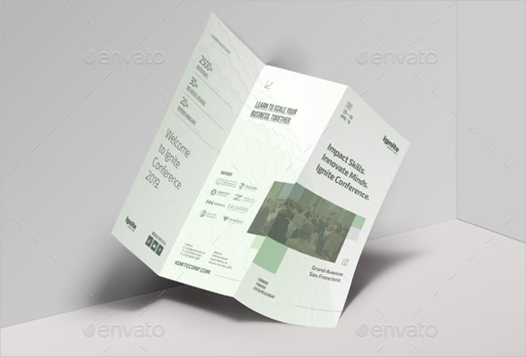 business tri fold conference brochure