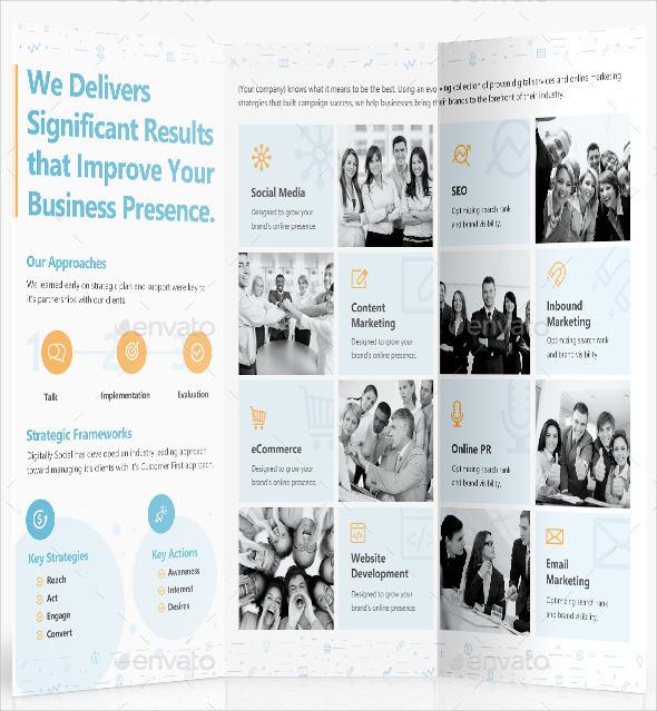 tri fold digital marketing brochure