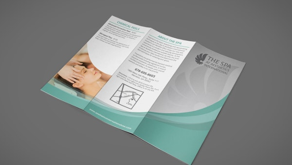 Tri Fold Spa Menu Brochure