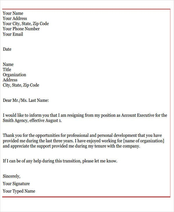 9 Official Resignation Letter Template 9 Free Word